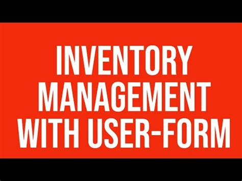 inventory management user form excel youtube