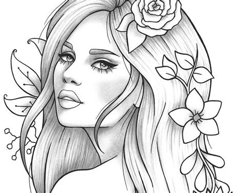 adult coloring page girl portrait  clothes colouring sheet floral  printable anti stress