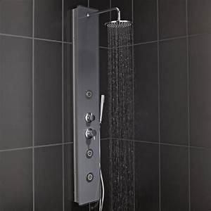 Colonne De Douche Bois : colonne de douche hydromassante avec robinetterie gris ~ Dailycaller-alerts.com Idées de Décoration