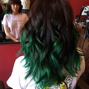 Black Hair - Green Ombre - Hair Colors Ideas