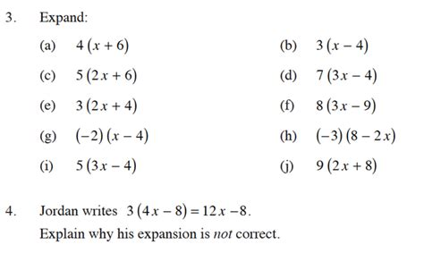 expansion of algebraic expressions worksheet expanding algebraic expressions worksheets worksheets for