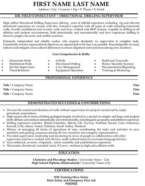 directional drilling supervisor resume sle template