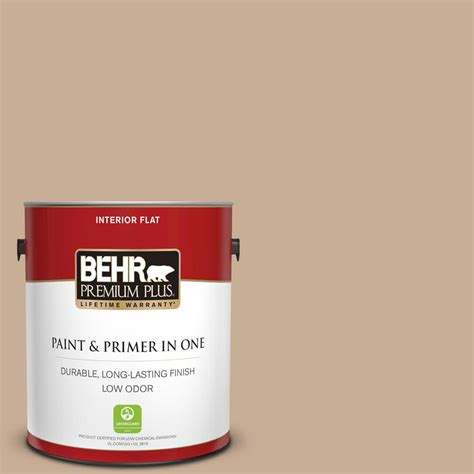 behr premium plus 1 gal 280e 3 toasted wheat flat low odor interior paint and primer in one
