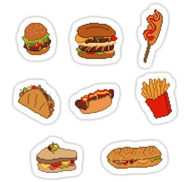 stickers ecriture cuisine quot pixel junk food stickers 1 quot stickers by siins redbubble