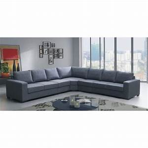 Canape angle lili 7 places gris tissu achat vente for Canape angle 7 places tissu