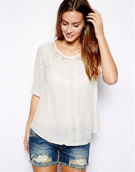 lace collar blouse mina mina blouse with lace collar at asos