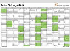 Ferien Thüringen 2019 Ferienkalender zum Ausdrucken