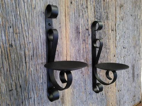 Two Metal Candle Holders Rustic Black Wrought Iron Wall Sconce