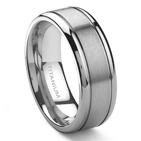 titanium ring wedding tensus titanium 8mm grooved wedding ring
