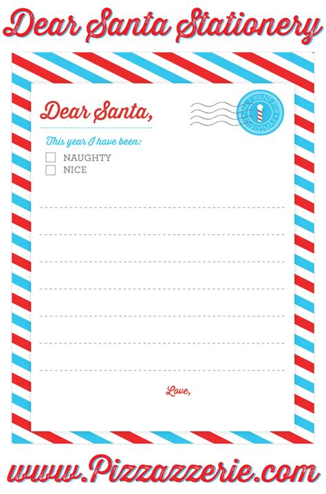 freebie dear santa stationery pizzazzerie