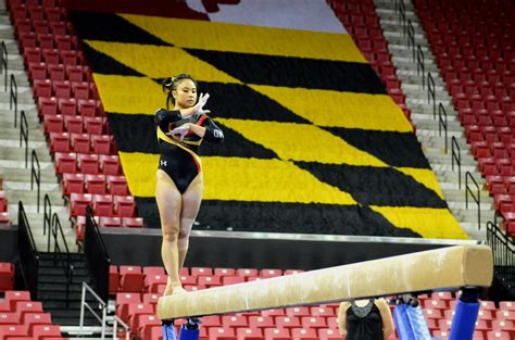 maryland gymnastics earned  season high beam score