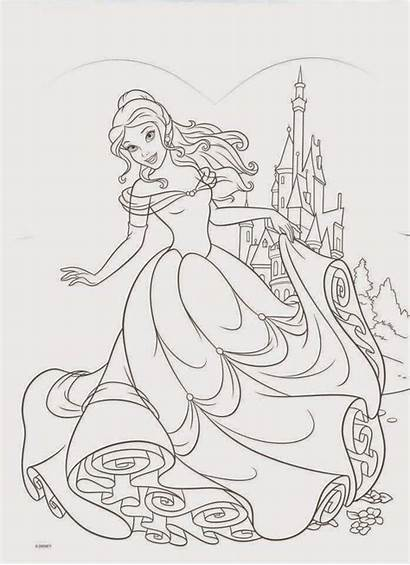 Coloring Pages Princess Belle Disney Adult Sleeping