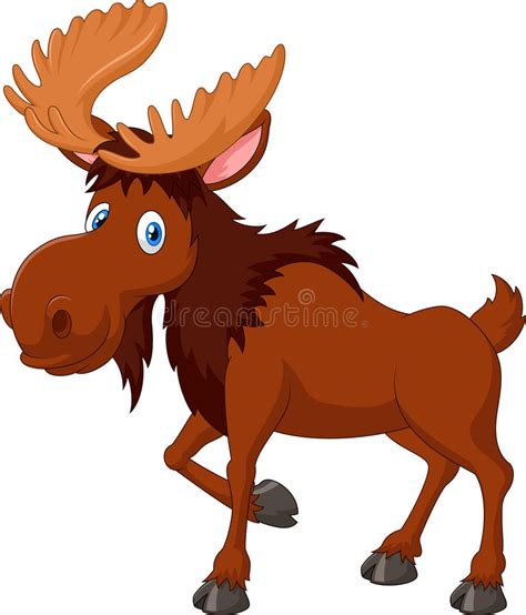 cartoon brown moose isolated  white background stock