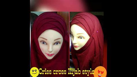 latest criss cross hijab styleunique hijab stylelatest
