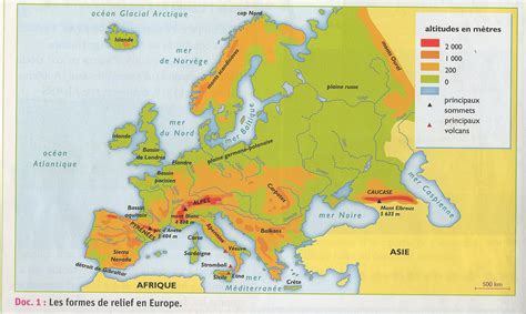 Carte Relief Europe Centrale carte de l europe cartes reliefs villes pays ue