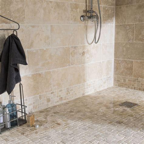 mosaique naturelle salle de bain mosa 239 que sol et mur travertin romano antico beige leroy merlin
