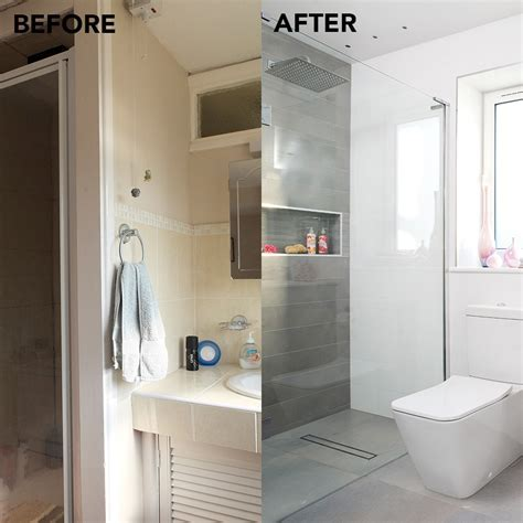Before and after: from tiny en suite to supersized shower