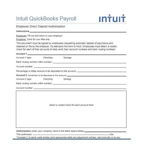 intuit direct deposit form world of exle