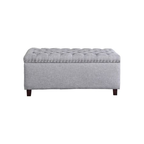 Grey Tufted Storage Ottoman by Button Tufted Gray Storage Ottoman 91018 63gy The Home Depot