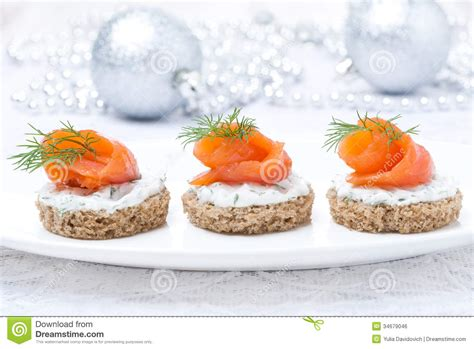canape creme canape with rye bread cheese salmon for