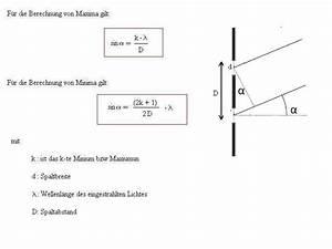 Wellenlänge Berechnen Doppelspalt : lichtbrechung am doppel und mehrfachspalt ~ Themetempest.com Abrechnung