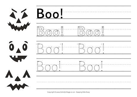 boo handwriting worksheet