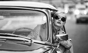 art, black and white, car, driving, girl - image #429233