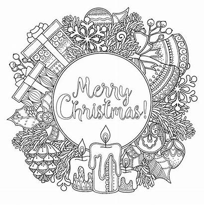 Coloring Christmas Wreath Pages Adult