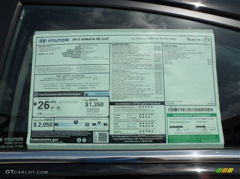 hyundai sonata se  window sticker photo