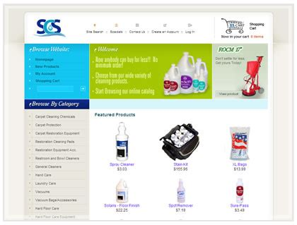 janitorial equipment ecommerce design shopping cart
