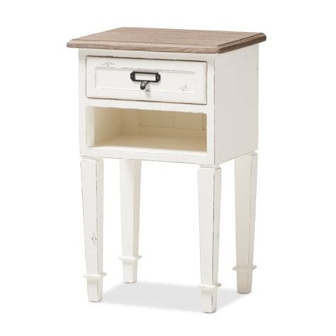 White Distressed Nightstand by Baxton Studio Dauphine Provincial Style Weathered Oak And