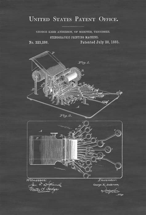 Stenographic Machine Patent - Law Firm Decor Lawyer Gift