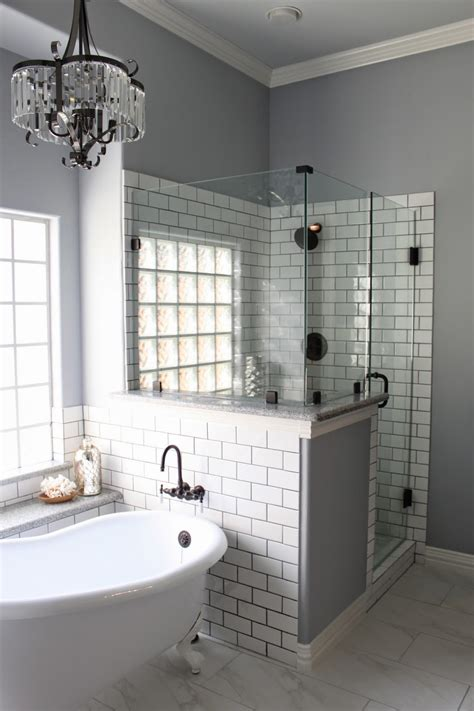 white bathroom remodel ideas master bath remodel grey grout white subway tiles and grout