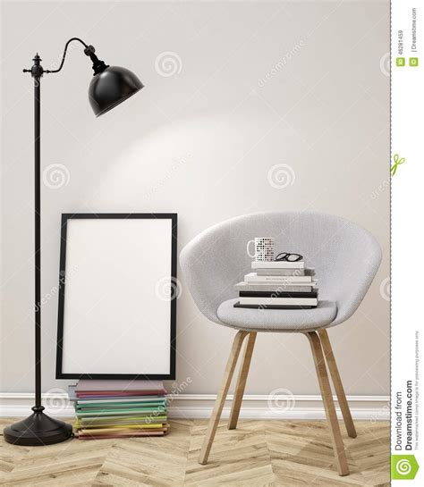 3D Illustration Of Blank Poster On The Wall Of Living Room