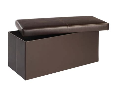 Large Faux Leather Ottoman by Bellville Large Brown Faux Leather Ottoman Just Ottomans