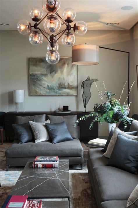 grey sofa living room Living Room Contemporary with Art