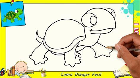 Como dibujar una tortuga FACIL paso a paso para niños y