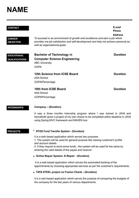 resume templates  freshers   word format