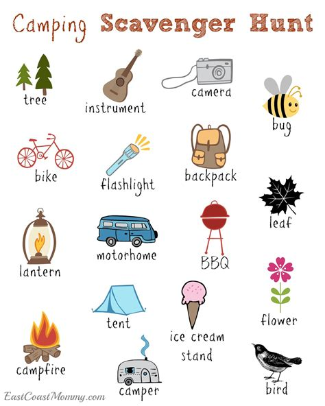 east coast mommy camping scavenger hunt  printable