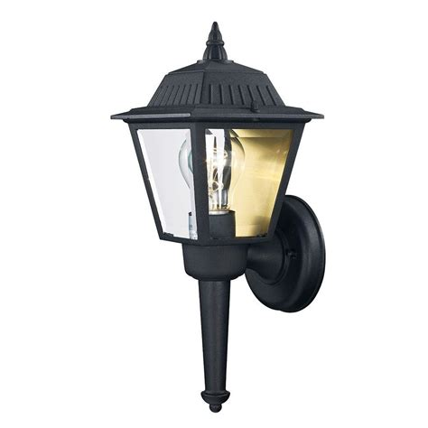 Backyard Lighting Home Depot by Hton Bay 1 Light Black Outdoor Wall Mount Lantern Kb