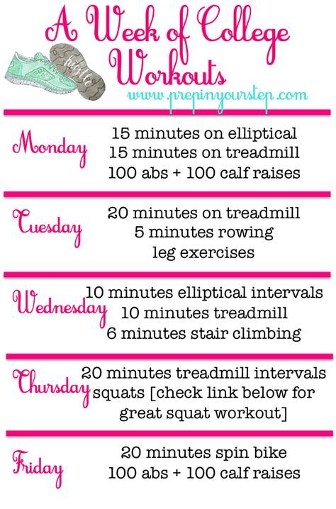 "Weekly (gym) Workout Routine ""fit"" For A College Girl"