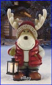18 Lighted Wreath Moose Led Lantern Light Christmas Holiday Indoor Outdoor