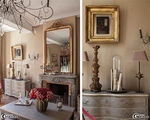 Décoration Dessus Cheminée : chemin e de style rocaille en bois patin e grand miroir ~ Voncanada.com Idées de Décoration
