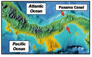 Central America Showing Panama And Adjacent Countries  The Panama Canal