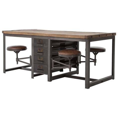 Dining Table With Stools by Wilkes Industrial Loft Reclaimed Pine Iron 4 Swivel Stools