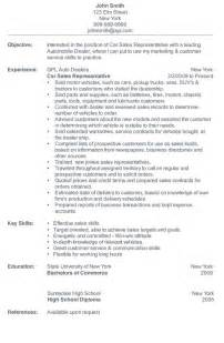 resume for car sales car salesman resume sle 1