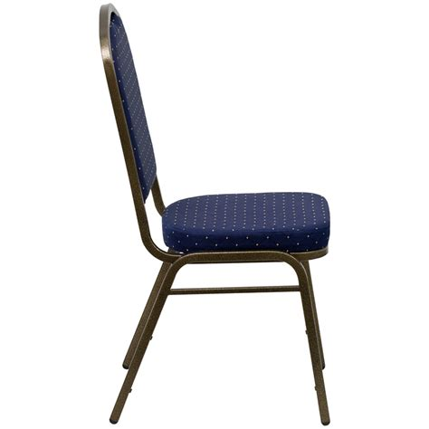 navy blue fabric and gold crown banquet chair