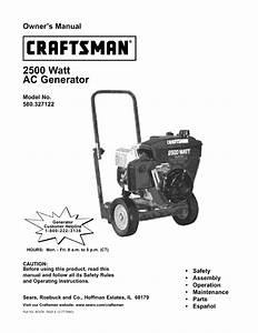 Craftsman 580327120 User Manual 2500w Generator On A 2