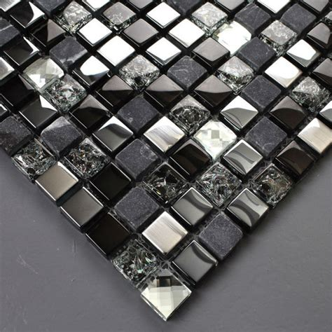 tst glass tiles black grey squared grid marble