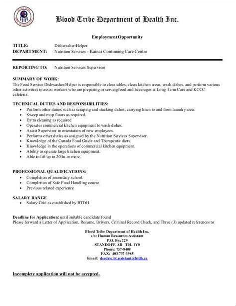 Dishwasher Resume Sle by Dishwasher Helper Blood Tribe Employment And Skills